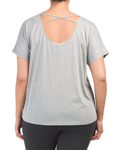 Plus Active Dolman Sleeve Open Back Top