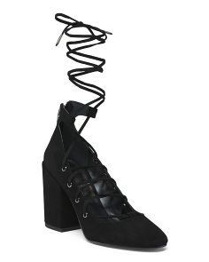 Suede Lace Up Block Heel Pumps