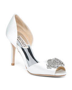 Peep Toe D'orsay Satin Pumps