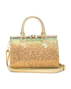 Iridescent Satchel With Rhinestone Detail