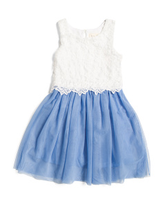 Little Girls Lace Popover Dress With Tulle Skirt