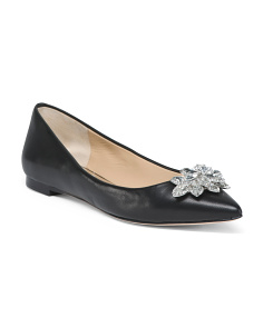 Crystal Embellised Leather Flats