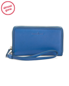 Leather Zip Around Wristlet Wallet