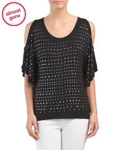 Cold Shoulder Sleeve Top With Stud Detail
