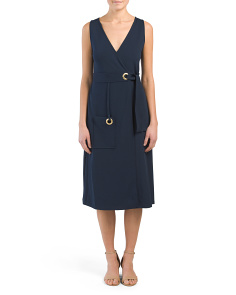 Wrap Midi Dress With Pocket