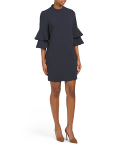 Havana Ruffle Sleeve Crepe Dress