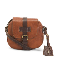 Leather Front Buckle Crossbody