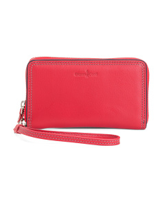 Rfid Zip Around Leather Wristlet