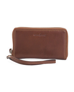 Zip Around Leather Wallet Wristlet