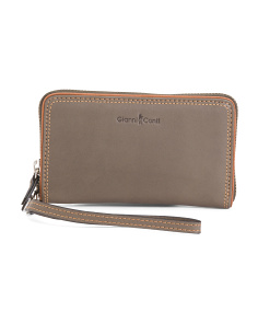 Zip Around Leather Wristlet