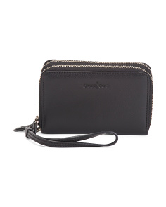 Zip Around Leather Wristlet Wallet