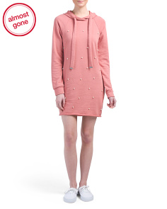 Juniors Hoodie Dress With Pearls
