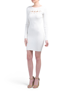 Ribbed Cut Out Long Sleeve Dress
