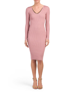 Juniors Ribbed Lace V-neck Midi Dress