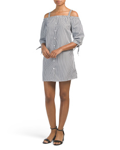 Juniors Cold Shoulder Button Front Striped Dress