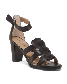 Block Heel Leather Ankle Sandals