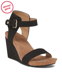 Suede Wedge Ankle Buckle Sandals