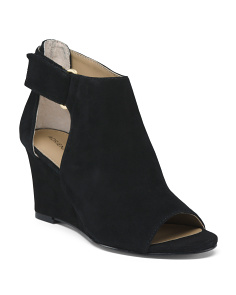 Peep Toe Suede Wedges