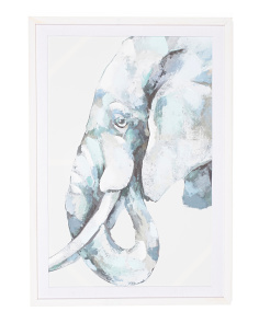 24x40 Cement Elephant Framed Wall Art