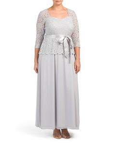 Plus Sweetheart Lace Gown