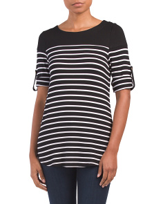 Striped Top With Shirt Tail Hem
