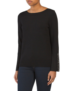 Boatneck Sweater With Flare Sleeves