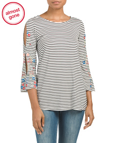Embroidered Sleeve Detail Striped Top