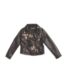 Girls Faux Leather Embroidered Moto Jacket