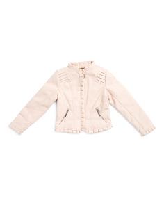 Girls Ruffle Trim Faux Leather Jacket