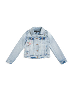 Girls Embroidery Floral Light Wash Denim Jacket