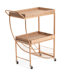 Wood And Metal Bar Cart