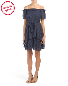 Petite Ruffled Polka Dot Dress