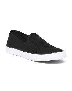 Suede Perforated Slip On Sneakers