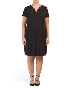 Plus Split Neck Dress