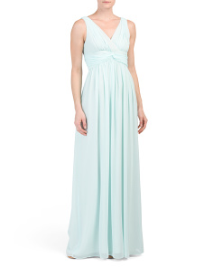 Sleeveless Surplice Gown