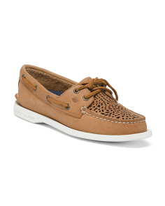 Leather Perforated Boat Shoes
