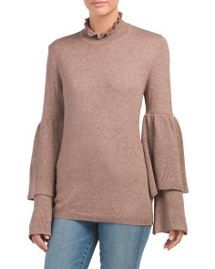 Tiered Bell Sleeve Pullover Sweater