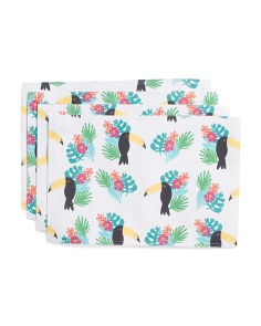 4pc Indoor Outdoor Tropical Toucan Print Placemats