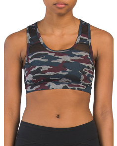 Camo Printed And Mesh Bra