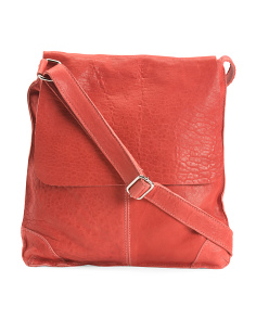 Made In Italy Leather Flap Over Crossbody