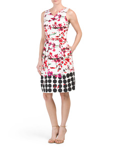 Sleeveless Floral & Dot Print Dress