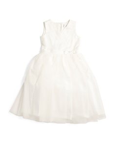 Little Girls Tulle Overlay Flower Girl Dress