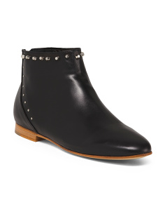 Made In Italy Leather Stud Trim Booties