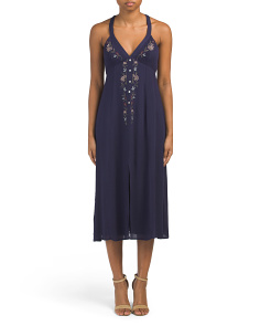 Juniors Embroidered Midi Dress