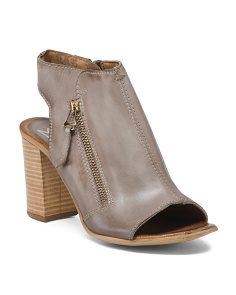 Leather Block Heel Peep Toe Booties