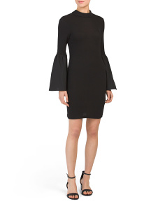 Juniors Bell Sleeve Mock Neck Dress