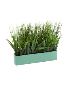 12in Coastal Faux Grass Planter
