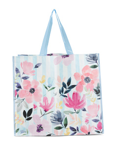Gabby Floral Striped Reusable Bag