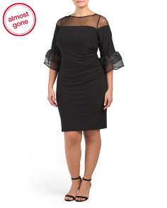 Plus Sheer Bell Sleeve Dress