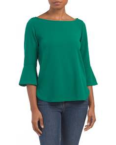 Made In USA Bell Sleeve Crepe Top
